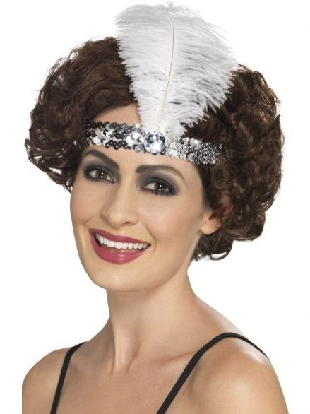 1920's Charlston Headband In Silver With White Feather